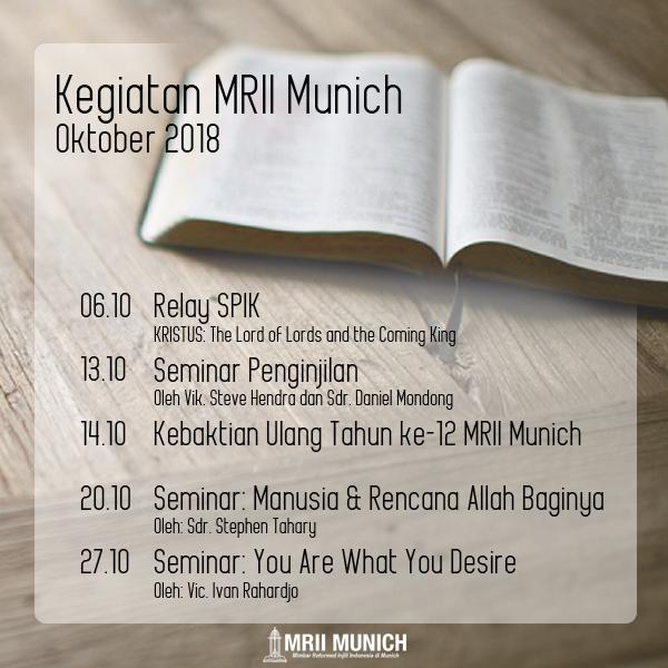 Jadwal Acara MRII Munich – Oktober 2018