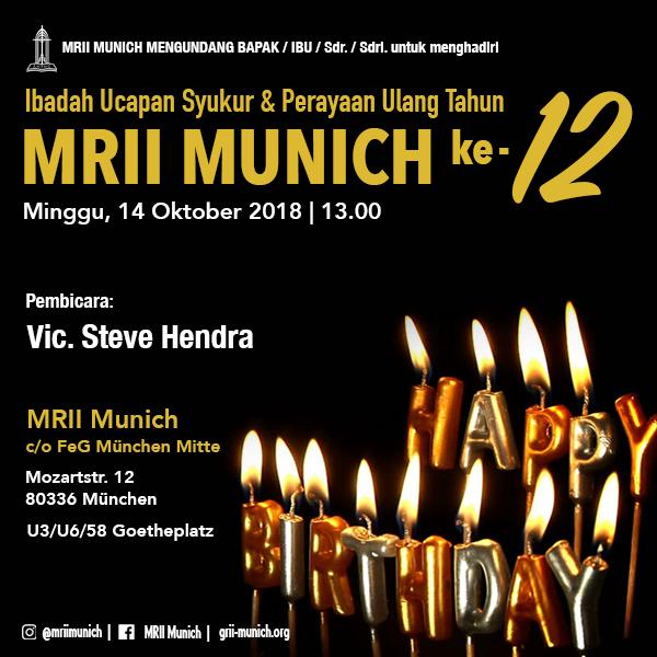 Ibadah Ucapan Syukur & Perayaan Ulang Tahun MRII Munich ke-12